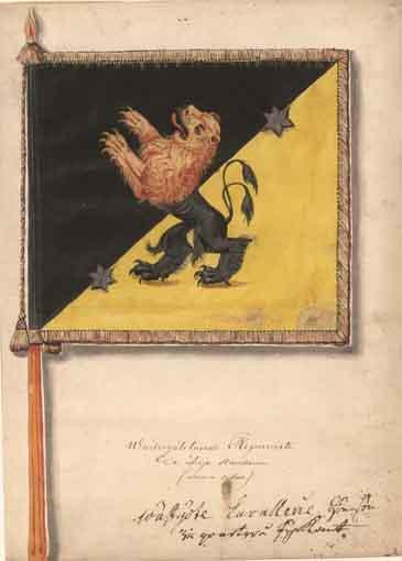 1686 Västgöta Kavalleriregemente. Kompanistandar, vapensida